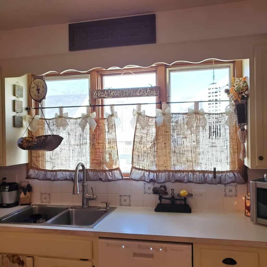 burlap brown kitchen curtain ideas ninety9pepper