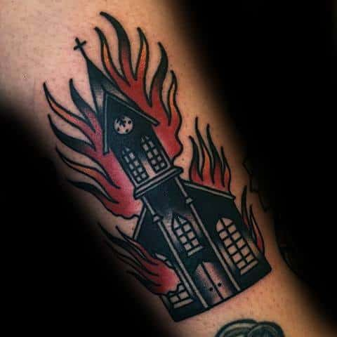 Burning Church Male Tattoos