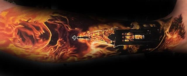 Burning Church Tattoo Designs For Men