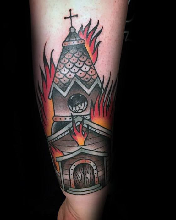 Burning Church Tattoo Ideas For Gentlemen