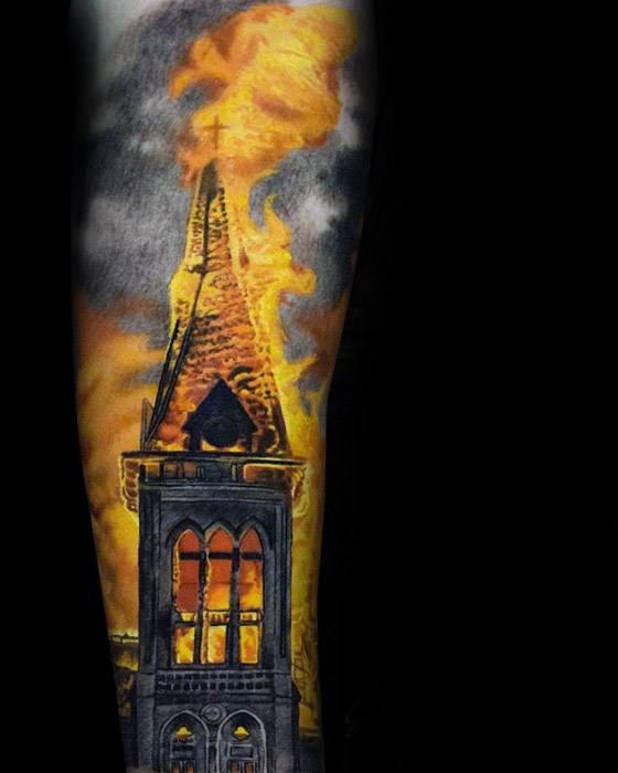 Burning Church Tattoos Men