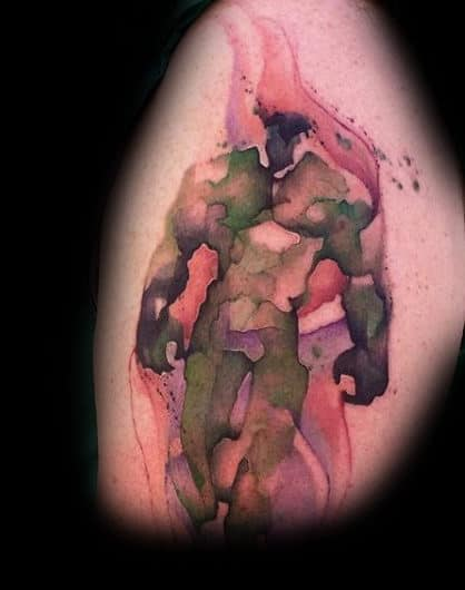 Burning Hulk Tattoo Male Arms