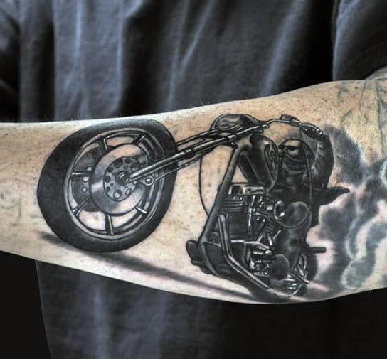 Burning Rubber Biker Guy Arm Tattoo