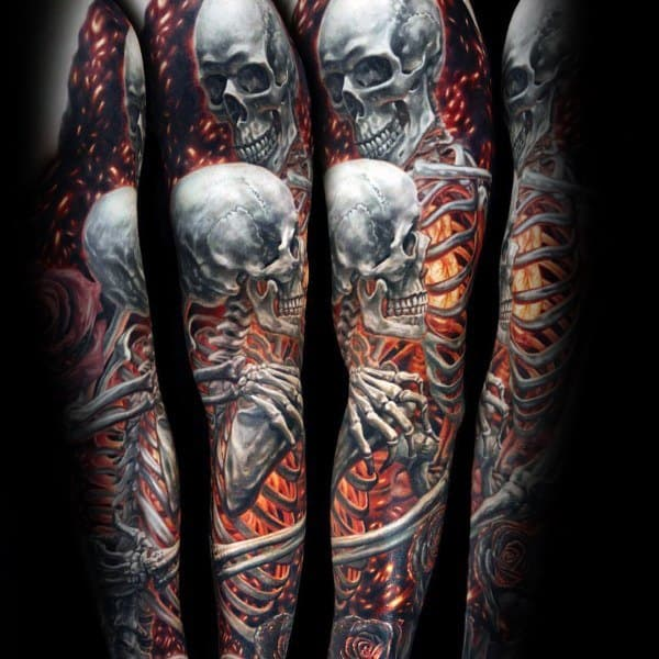24cbbc0148a16 Burning Skeletons Full Arm Sleeve 3d Coolest Tattoos For Guys