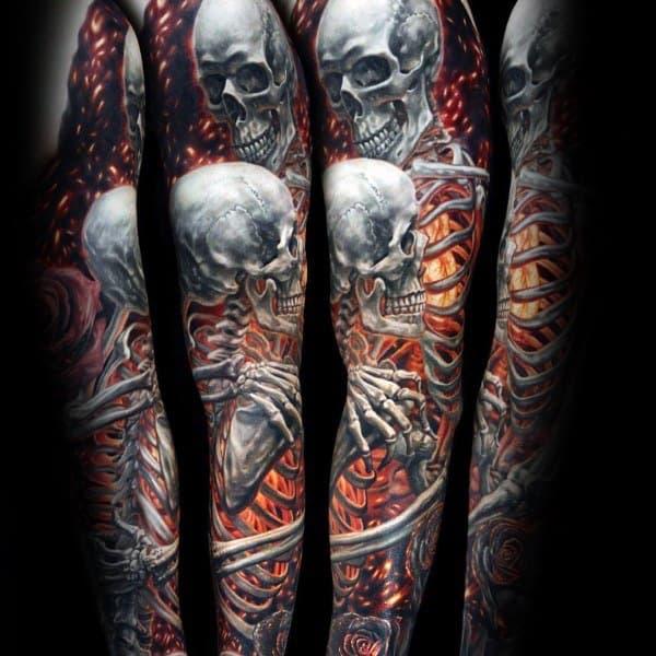 Burning Skeletons Full Arm Sleeve 3d Coolest Tattoos For Guys
