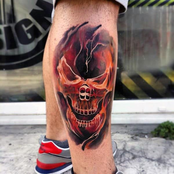 Burning Skull Awesome Leg Tattoo For Guys