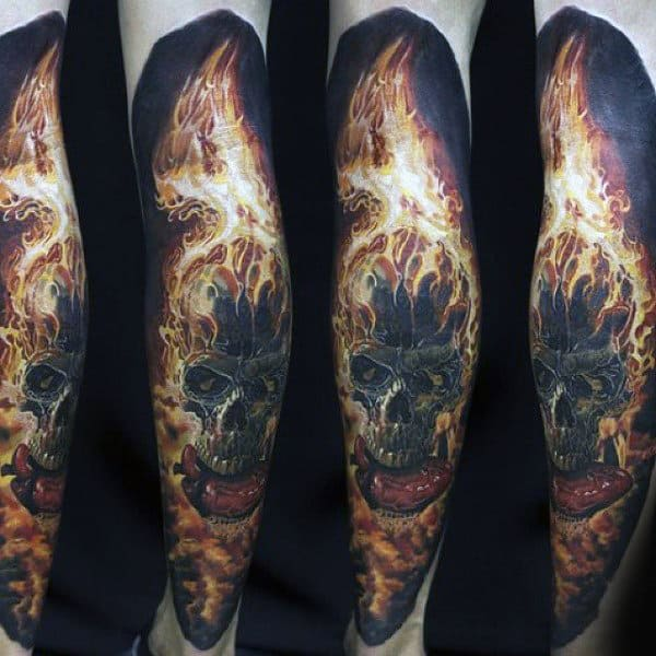 Burning Skull On Fire Mens Leg Sleeve Tattoos
