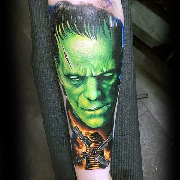Burning Windmill Mens Glowing Green Frankenstein Forearm Sleeve Tatto