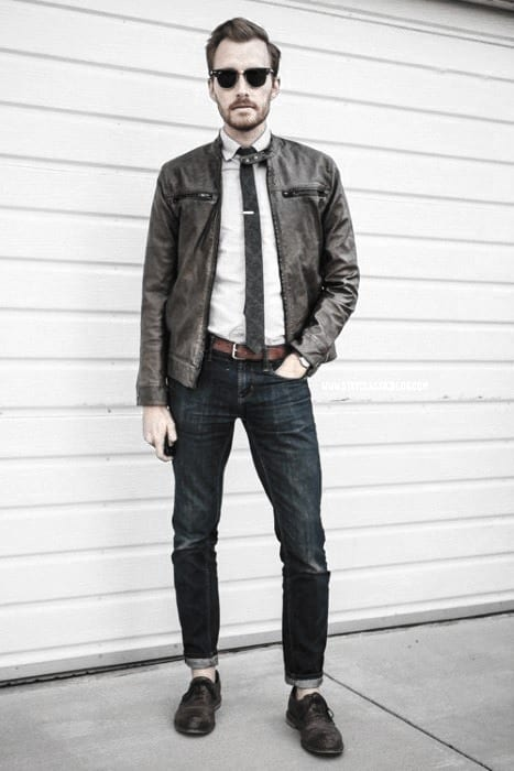 Business Casual How To Wear A Leather Jacket Gentlemens Leather Jacket Outfits Style Ideas