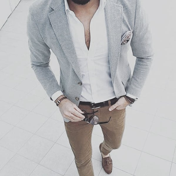 Business Casual Outfits Male Style Blazer With White Dress Shirt And Tan Chinos