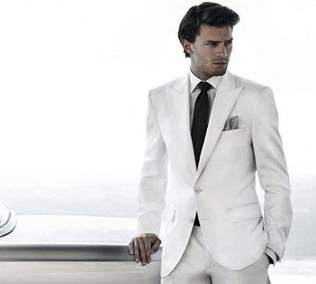 Business Professional All White Outfits For Men Suit And Black Tie