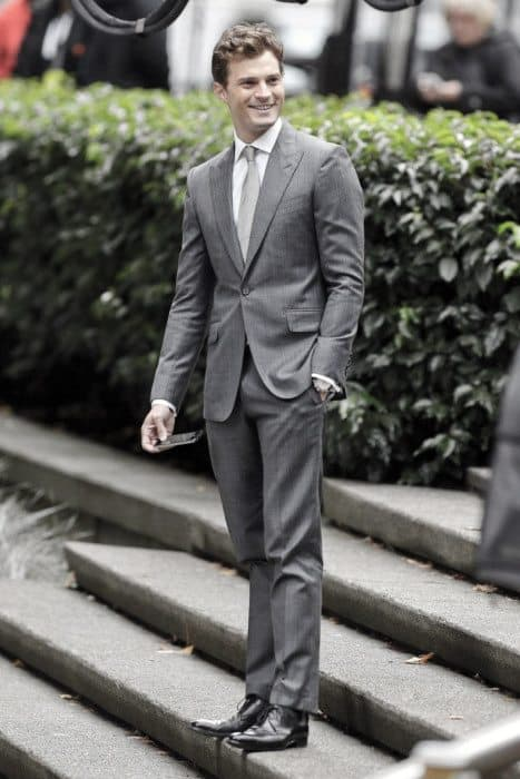 Business Professional Grey Suit Black Shoes Male Style
