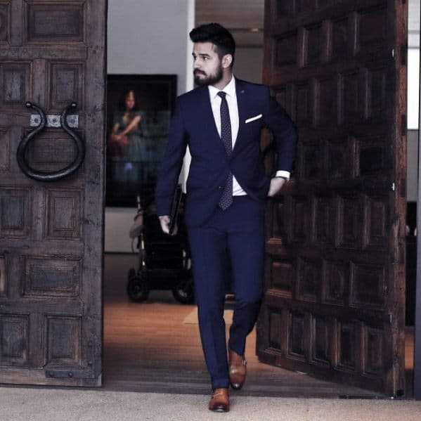 Business Professional Navy Blue Suit Brown Shoes Styles For Men