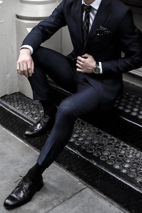 Business Professional Unique Navy Blue Suit Black Shoes Styles For Men