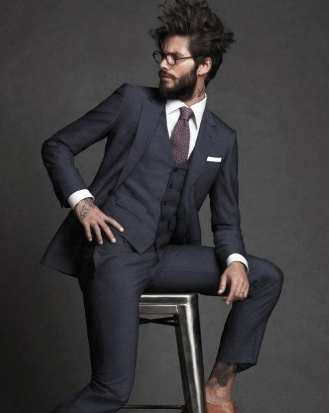 Business Wear Navy Blue Suit Male Style