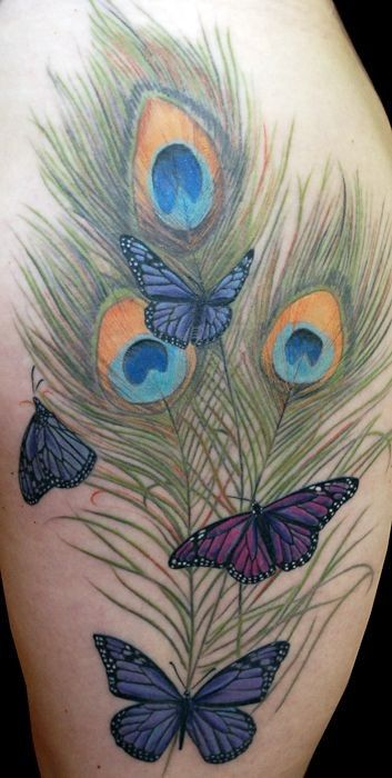 Butterfly Peacock Feather Tattoo