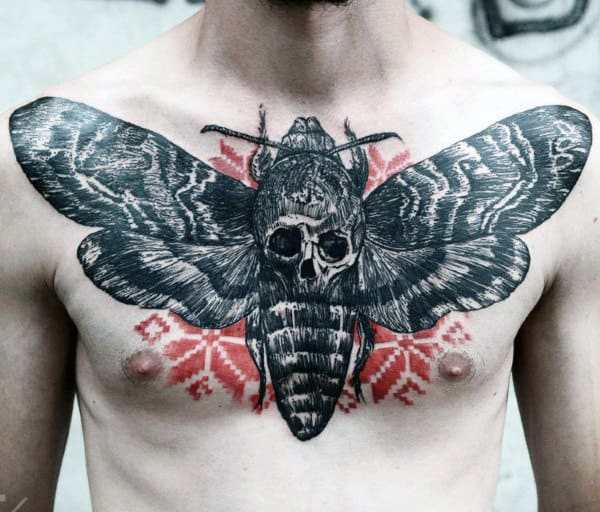 Butterfly Skull Male Chest Tattoos
