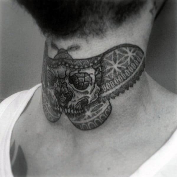 Butterfly Skull Pointillism Mens Neck Tattoos
