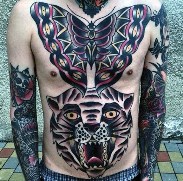 Butterfly With Tiger Traditional Mens Chest Tattoo