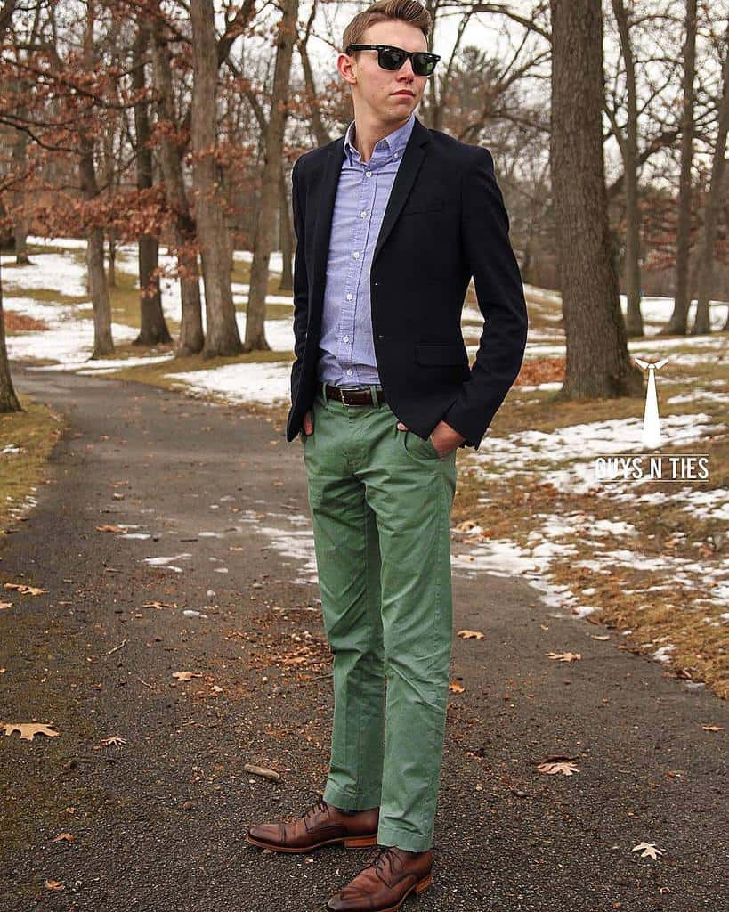 Button Down Green Pants Outfit