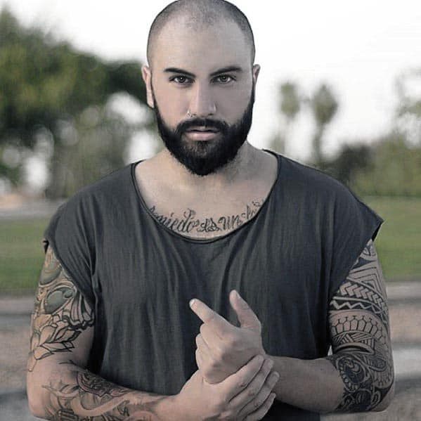 Buzzed Head Mens Hairstyle Ideas With Short Beard