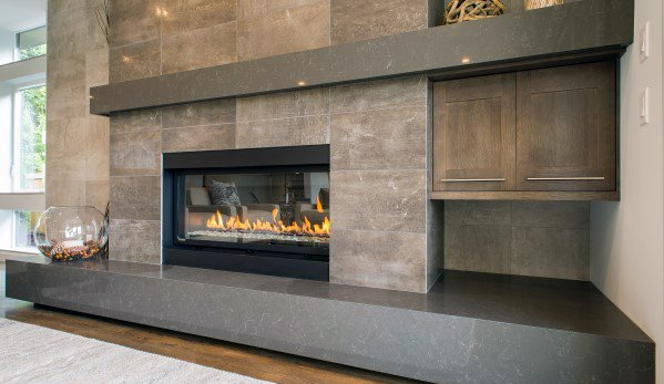 Cabin Grey Stone Fireplace Tile Ideas