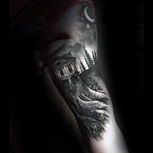 Cabin In The Woods Creative Mens Arm Tattoos