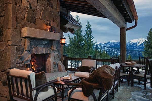 Cabin Outdoor Patio Fireplace Design Inspiration