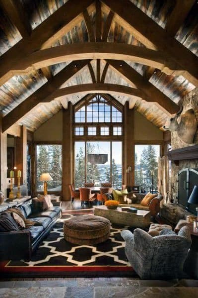 Cabin Retreat Great Room Vaulted Ceiling Ideas With Wood Beams