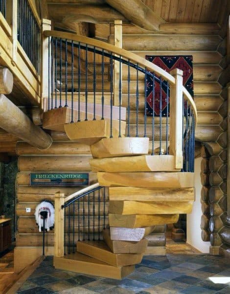 Cabin Spiral Wood Stairs Ideas