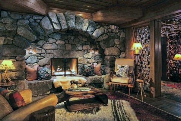 Cabin Stone Fireplace Design
