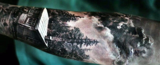 Cabin Tattoo Designs For Men