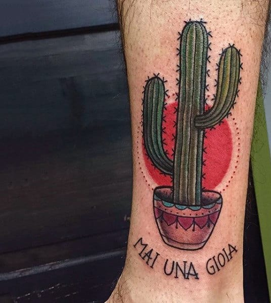 Cactus Plant With Red Sun In Background Male Tattoos