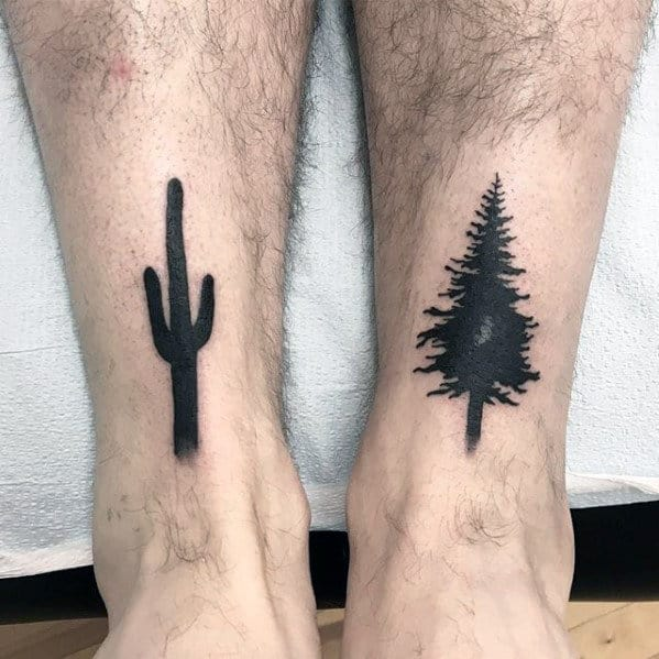 Cactus With Pine Tree Mens Solid Black Ink Leg Tattoos