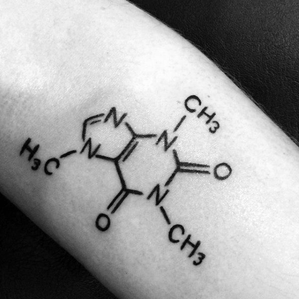 Caffeine Male Chemistry Structure Tattoo Designs