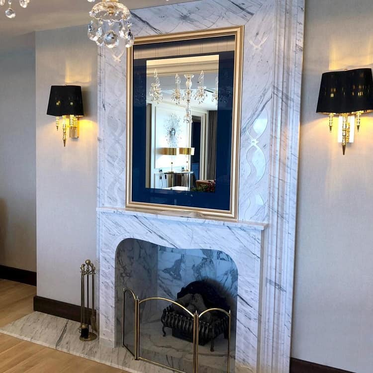 Calacatta Marble Fireplace Surround Stoneco Showroom