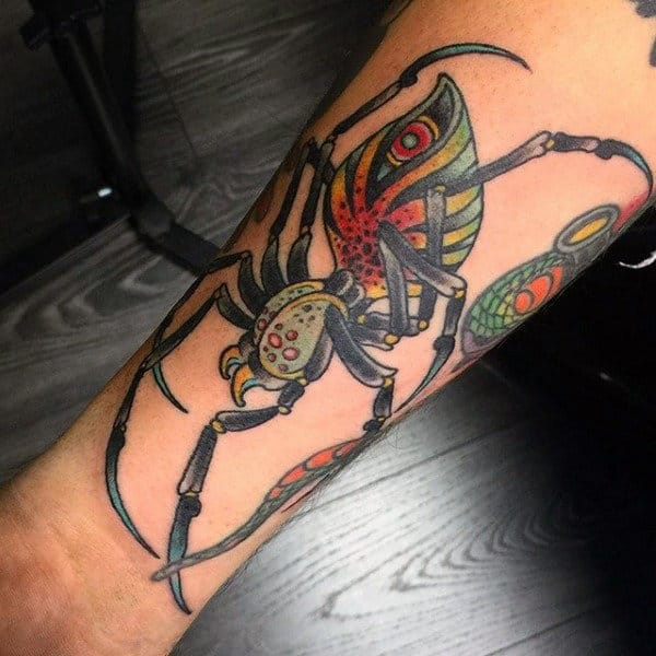 Calf Colorful Spider Tattoo For Guys