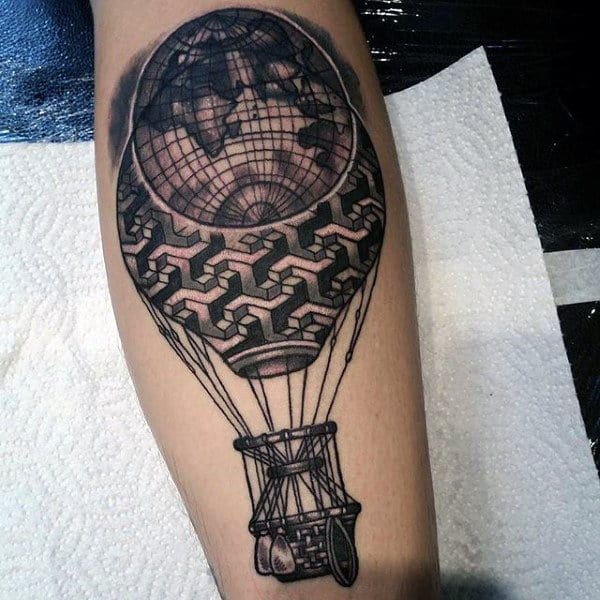 Globe Calf Tattoo Design Ideas For Men