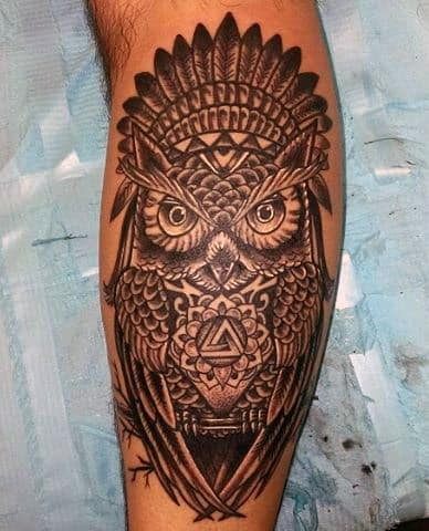 Owl Calf Tattoo For Guys