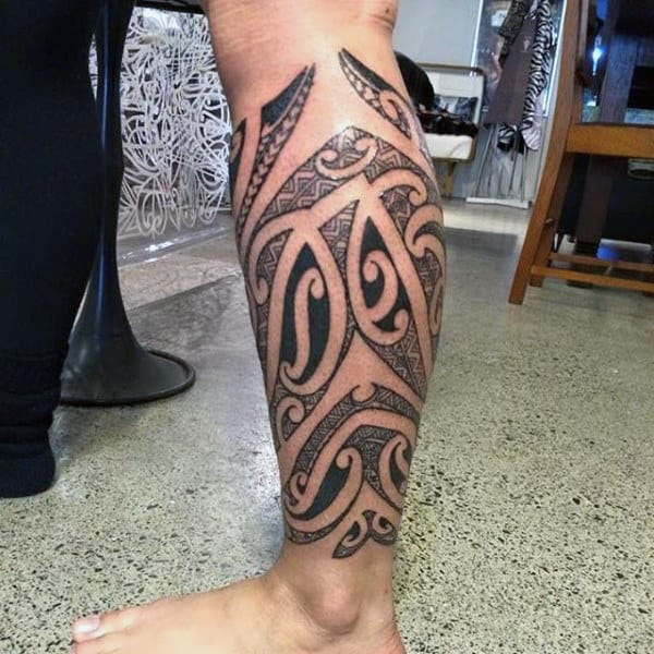 Tribal Calf Tattoo Ideas For Men