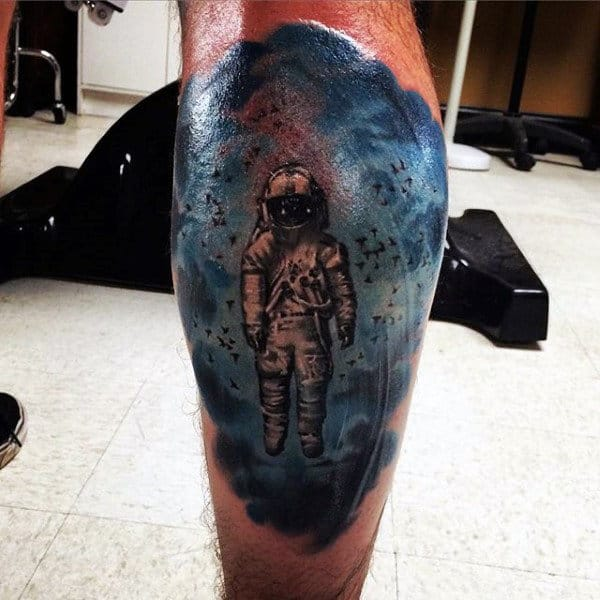 Outer Space Calf Tattoos For Guys