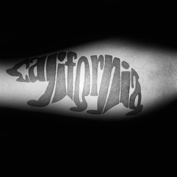 California Bear Lettering Mens Arm Tattoo