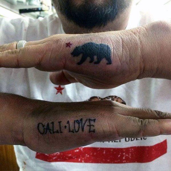 California Bear Side Hand Tattoo Ideas For Males