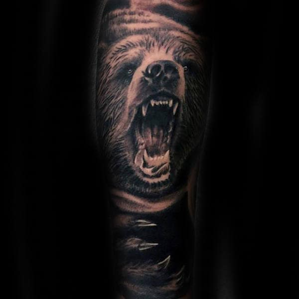 California Bear With Claws Mens Full Sleeve Tattoos
