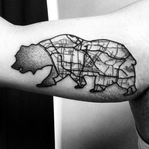 California Bear With Detailed City Map Mens Bicep Tattoos
