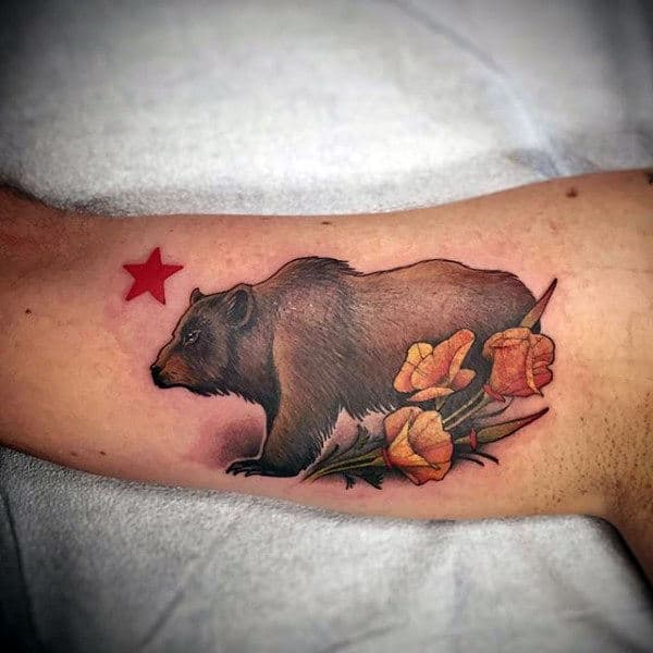 California Bear With Flowers Mens Arm Tattoo Designs