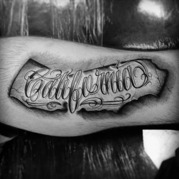 California Mens Leg Tattoo Designs