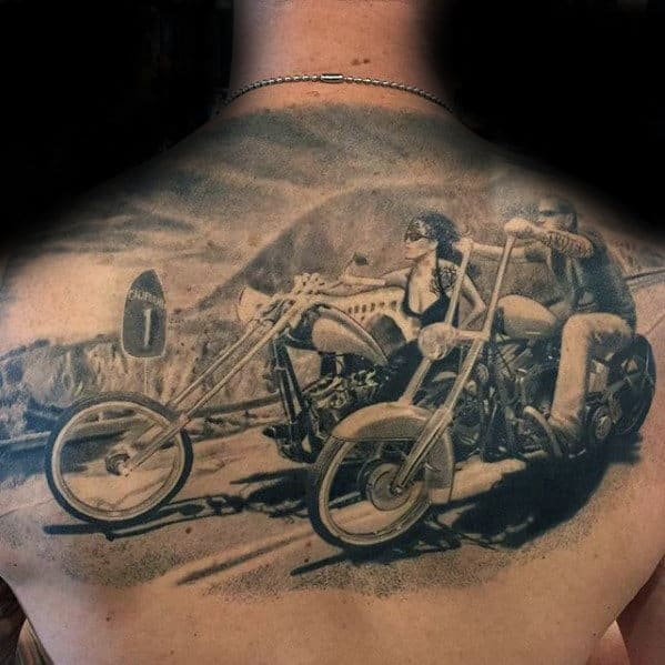 California Motorcycle Riders Realistic Sweet Upper Back Tattoos For Men