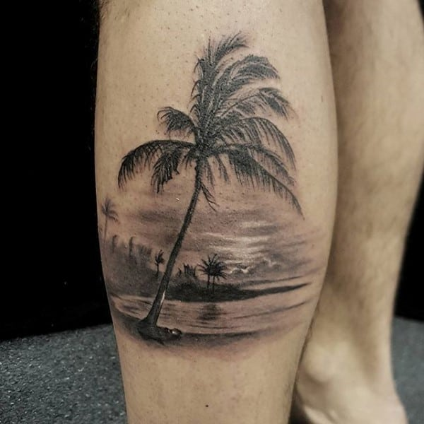 California Ocean Beach Mens Realistic Tattoo On Mans Leg