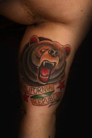 California Republic Old School Guys Bear Inner Arm Tattoos
